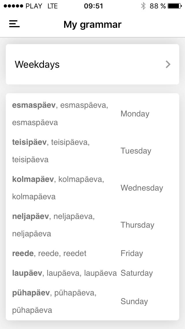 estońskie dni tygodnia
