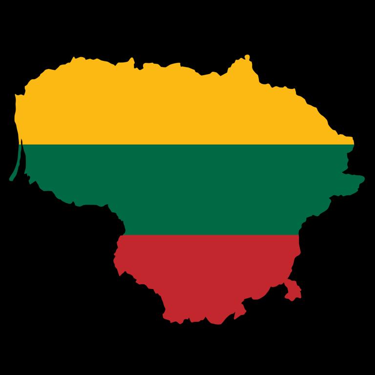 """Litwa z barwami narodowymi. Podpis: """"opowieść o litewskim""""."""