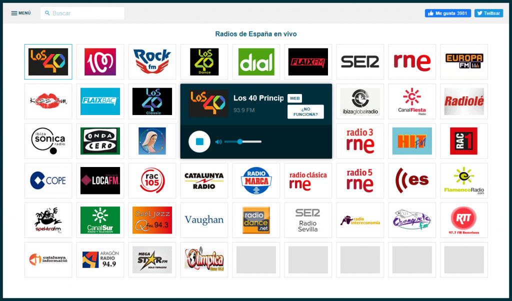 Hiszpańskie stacje radiowe. Zrzut ekranu ze strony Emisora.